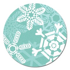 Snowflakes 3  Magnet 5  (Round) by theimagezone