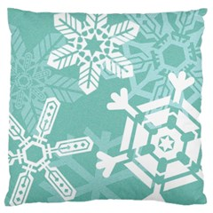 Snowflakes 3  Large Flano Cushion Cases (one Side)  by theimagezone