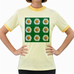 Daisy Pattern  Women s Fitted Ringer T Shirts by theimagezone