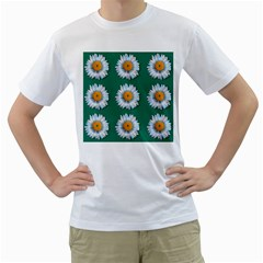 Daisy Pattern  Men s T Shirt (white) (two Sided) by theimagezone