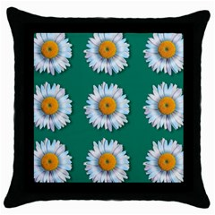 Daisy Pattern  Throw Pillow Cases (black) by theimagezone