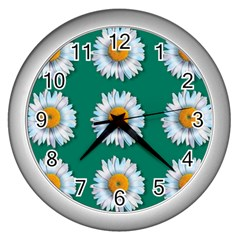 Daisy Pattern  Wall Clocks (silver)  by theimagezone