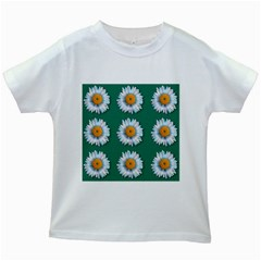Daisy Pattern  Kids White T Shirts by theimagezone