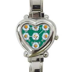 Daisy Pattern  Heart Italian Charm Watch by theimagezone