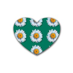 Daisy Pattern  Rubber Coaster (heart)  by theimagezone