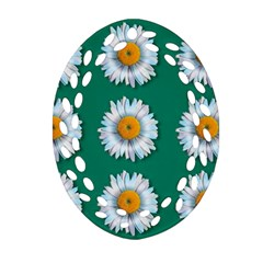 Daisy Pattern  Oval Filigree Ornament (2 Side)  by theimagezone