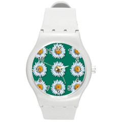 Daisy Pattern  Round Plastic Sport Watch (m) by theimagezone