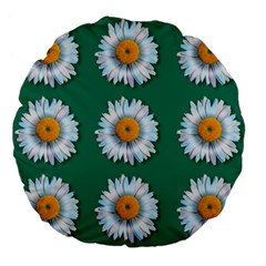 Daisy Pattern  Large 18  Premium Flano Round Cushions by theimagezone