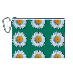 Daisy Pattern  Canvas Cosmetic Bag (l) by theimagezone
