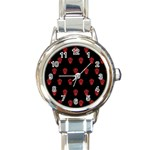 Skull Pattern Red Round Italian Charm Watches