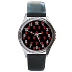 Skull Pattern Red Round Metal Watches