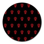 Skull Pattern Red Round Mousepads