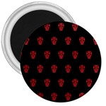 Skull Pattern Red 3  Magnets