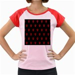 Skull Pattern Red Women s Cap Sleeve T-Shirt