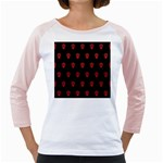 Skull Pattern Red Girly Raglans