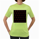 Skull Pattern Red Women s Green T-Shirt