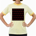 Skull Pattern Red Women s Fitted Ringer T-Shirts