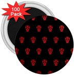 Skull Pattern Red 3  Magnets (100 pack)