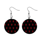 Skull Pattern Red Mini Button Earrings