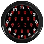 Skull Pattern Red Wall Clocks (Black)