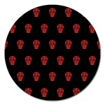 Skull Pattern Red Magnet 5  (Round)