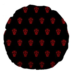 Skull Pattern Red Large 18  Premium Flano Round Cushions by MoreColorsinLife