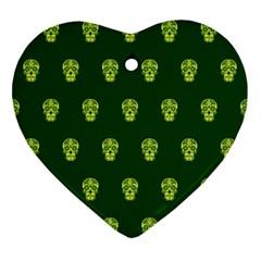 Skull Pattern Green Ornament (heart)  by MoreColorsinLife