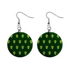 Skull Pattern Green Mini Button Earrings by MoreColorsinLife