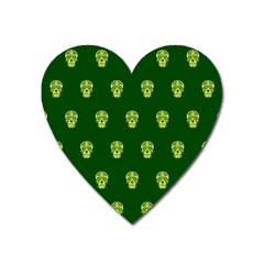 Skull Pattern Green Heart Magnet by MoreColorsinLife
