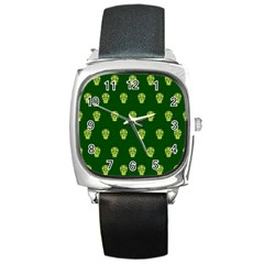 Skull Pattern Green Square Metal Watches by MoreColorsinLife