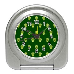 Skull Pattern Green Travel Alarm Clocks by MoreColorsinLife