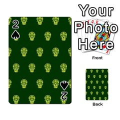 Skull Pattern Green Playing Cards 54 Designs  by MoreColorsinLife