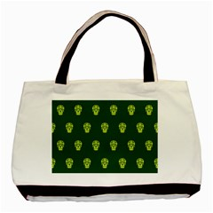 Skull Pattern Green Basic Tote Bag  by MoreColorsinLife