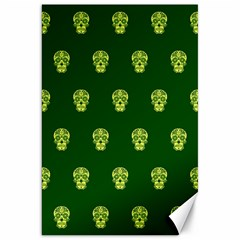 Skull Pattern Green Canvas 20  X 30   by MoreColorsinLife