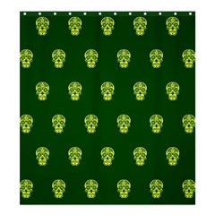 Skull Pattern Green Shower Curtain 66  X 72  (large)  by MoreColorsinLife