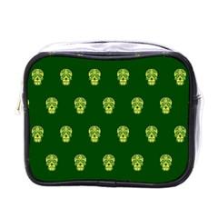 Skull Pattern Green Mini Toiletries Bags by MoreColorsinLife