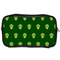 Skull Pattern Green Toiletries Bags 2 Side by MoreColorsinLife