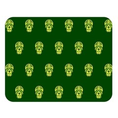 Skull Pattern Green Double Sided Flano Blanket (large)