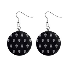 Skull Pattern Bw  Mini Button Earrings by MoreColorsinLife