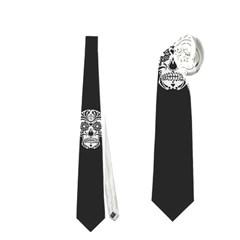 Skull Pattern Bw  Neckties (two Side)