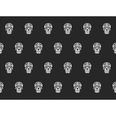 Skull Pattern Bw  Birthday Cake 3d Greeting Card (7x5)