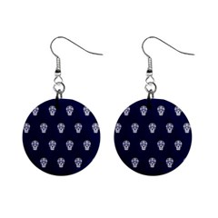 Skull Pattern Blue  Mini Button Earrings by MoreColorsinLife