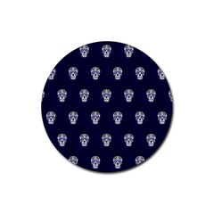 Skull Pattern Blue  Rubber Coaster (Round)  by MoreColorsinLife