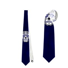 Skull Pattern Blue  Neckties (one Side)