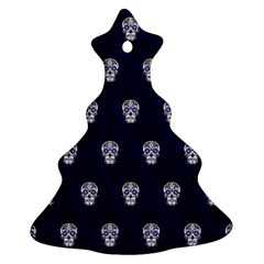 Skull Pattern Blue  Ornament (christmas Tree) by MoreColorsinLife
