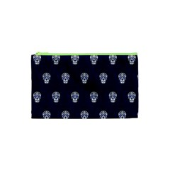 Skull Pattern Blue  Cosmetic Bag (xs) by MoreColorsinLife