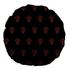 Skull Pattern Pink  Large 18  Premium Round Cushions by MoreColorsinLife