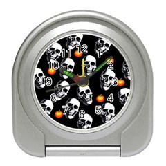 Skulls And Pumpkins Travel Alarm Clocks by MoreColorsinLife