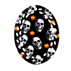 Skulls And Pumpkins Oval Filigree Ornament (2 Side)  by MoreColorsinLife