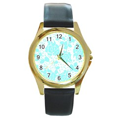 Floral Wallpaper Aqua Round Gold Metal Watches by ImpressiveMoments